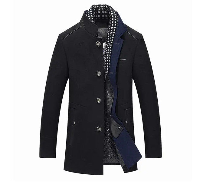 Men's autumn-winter casual jacket-coat, stylish, woolen, tight-fitting with a removable scarf