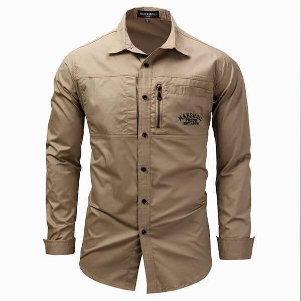 Men's long-sleeved shirt in military style