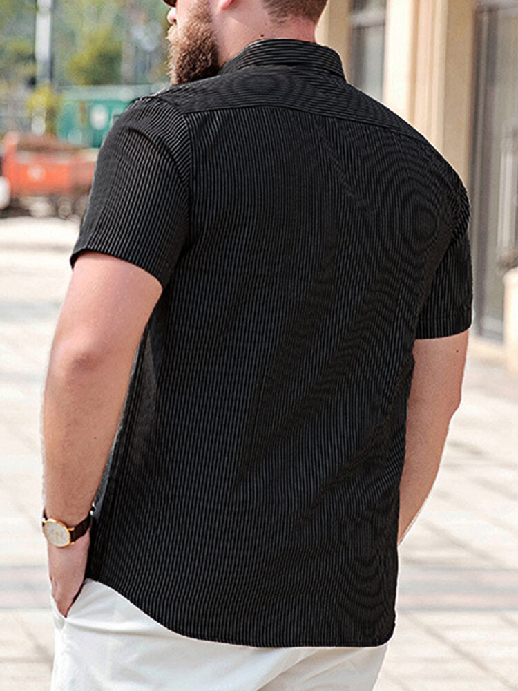 Mens Summer Casual Loose Short Sleeve Striped Shirts