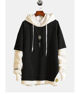 Men's casual sports jacket with a hood with a loose cotton pullover