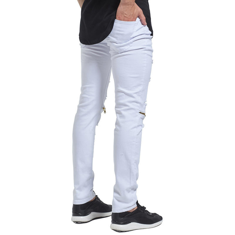 Skinny Hip Hop Ripped Holes Knee Zipper Jeans