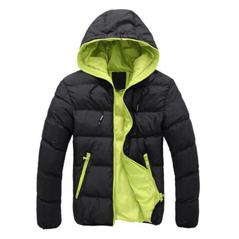 Men's winter warm colored jacket with a hood