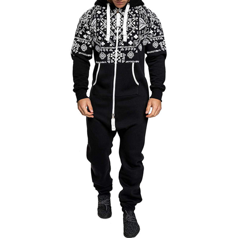 Men's sports overalls with a hood