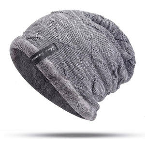 Corduroy hat with a knitted stripe
