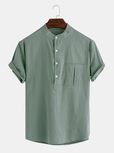 Men's plain cotton shirt with a pocket Henley for everyday use