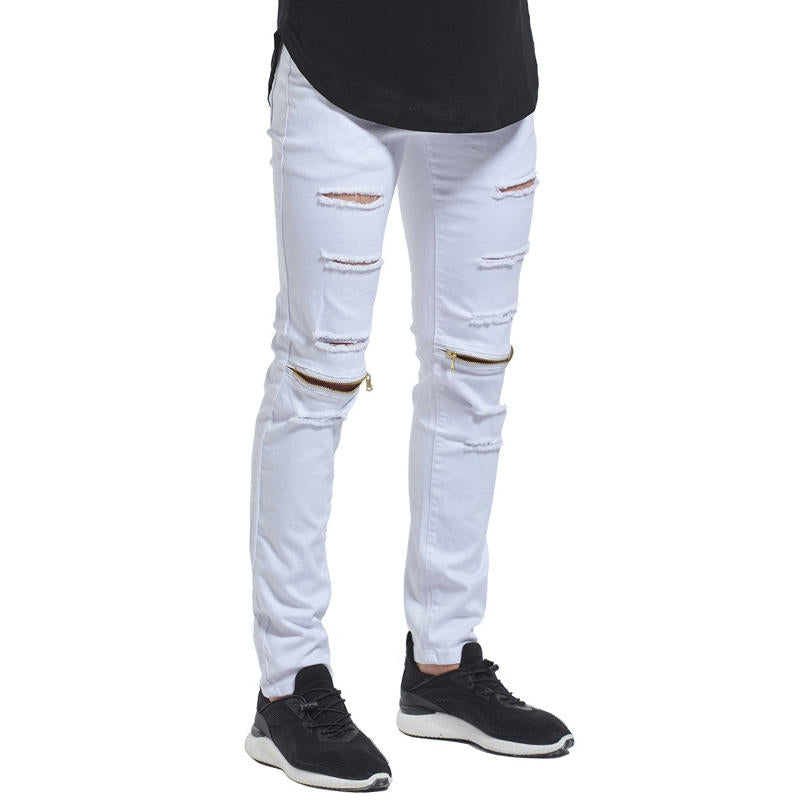 Skinny ripped jeans in hip hop style