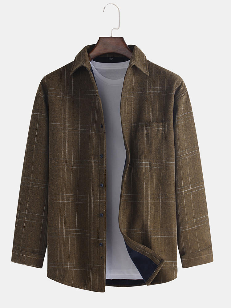 Men's casual jacket made of cotton and a thick folding collar