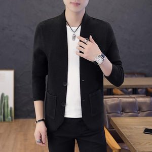 Men's Casual Pure Color Knitting Cardigans Single Breasted Pockets Coats