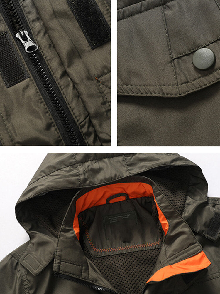 Men's Windproof Waterproof Hooded Jacket with Drawstring Waist Letter Print