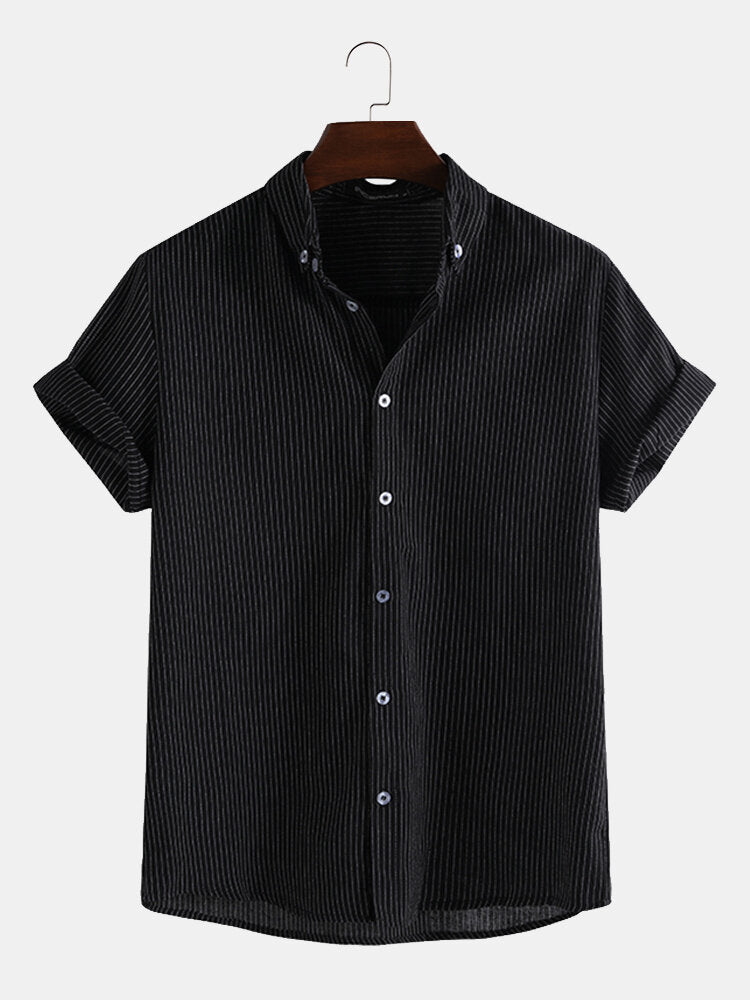 Men's summer casual striped shirt with short sleeves