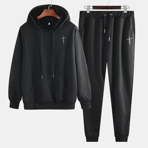 Cotton tracksuit with prints, sweatshirt + pants with laces