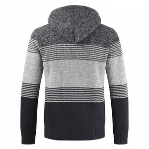 Men's thick velvet casual warm sweaters with a hood