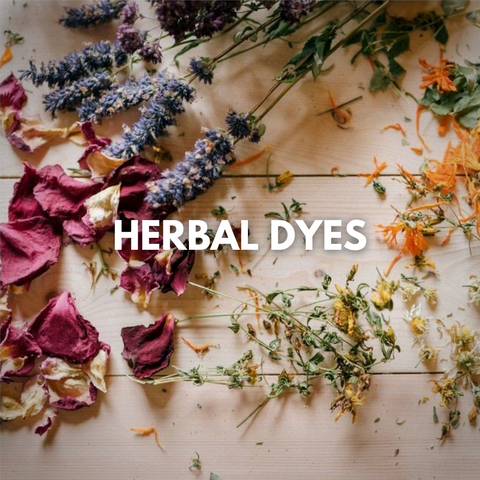Dry herbs set up on the table ready for dyeing process. Leela uses them for dyeing the yoga rugs & towels.