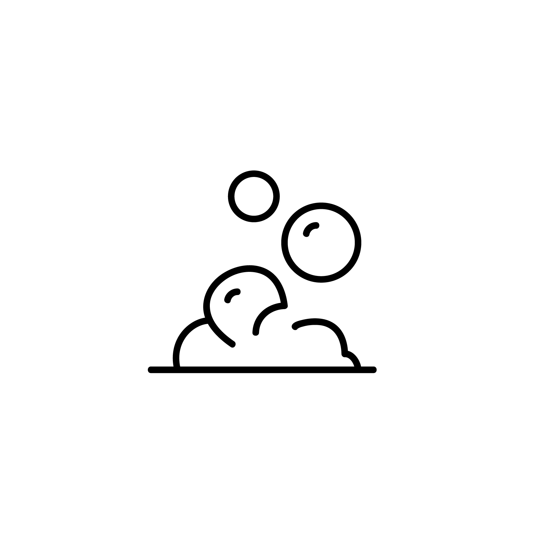 Pictogram of bubles during the washing process on white background.