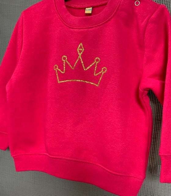 Hot Pink Toddler Sweatshirt With Gold Sparkly Crown