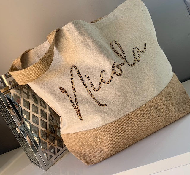 Large Personalised Canvas Shopper with Jute Base