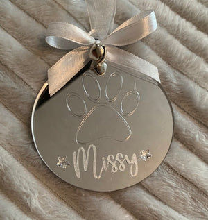 Paw Print Christmas Decoration for Cat or Dog