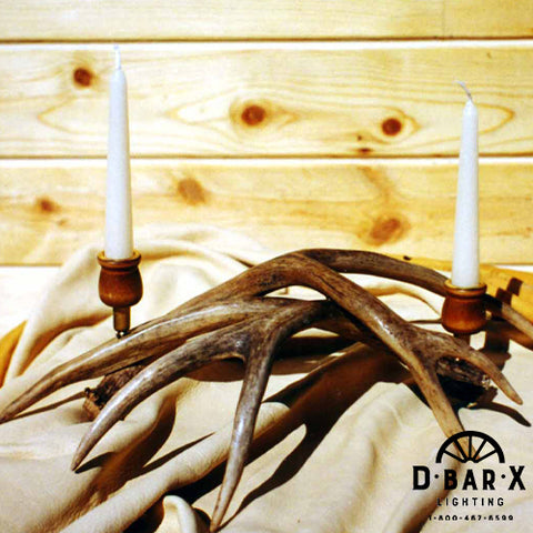 2C931 - Two Candle Mule Deer Antler Candelabra