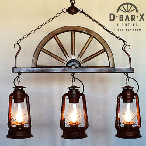 DX749: Wagon Wheel Bar Light with Rustic Lanterns