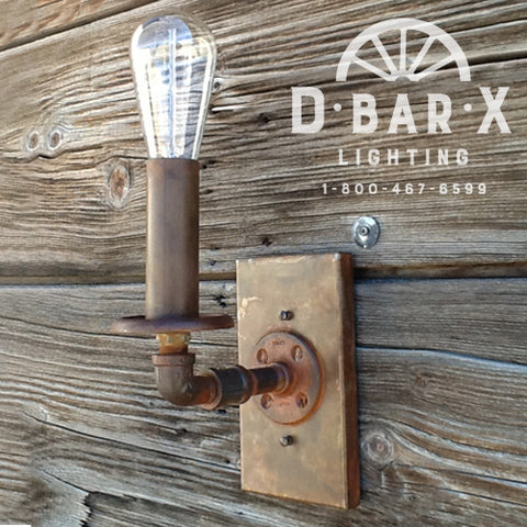 DX761: Industrial Wall Sconce With 1 Old-Fashioned Bulb Uplight