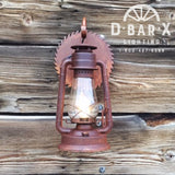 DX765: Rustic Saw Blade Lantern Wall Sconce