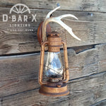 DX808: Rustic Lantern Wall Sconce With Natural Antler Hook