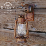DX814: Rustic Lantern Wall Sconce with Wagon Wheel Hub