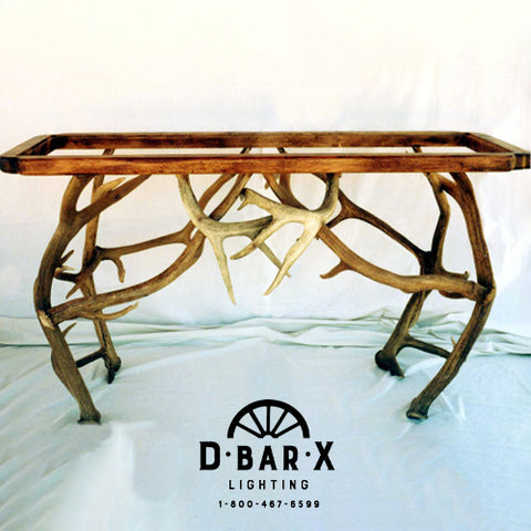 TA560 - Mule Deer & Elk Antler Sofa Table with Glass Top