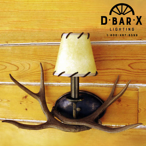 WE250 - Mule Deer Antler Wall Sconce with Two Antlers & One Light
