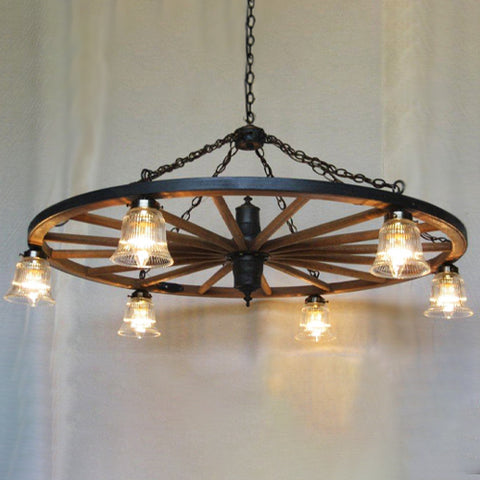 WW022: Rustic Wagon Wheel Chandelier with Lights Below Wheel