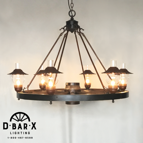 WW024: Wagon Wheel Chandelier with Hurricane Lights & Steel Hooks