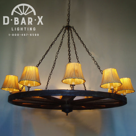 WW025 - Wagon Wheel Chandelier with Uplights