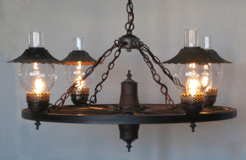 WW027 - Wagon Wheel Chandelier with Hurricane Uplights