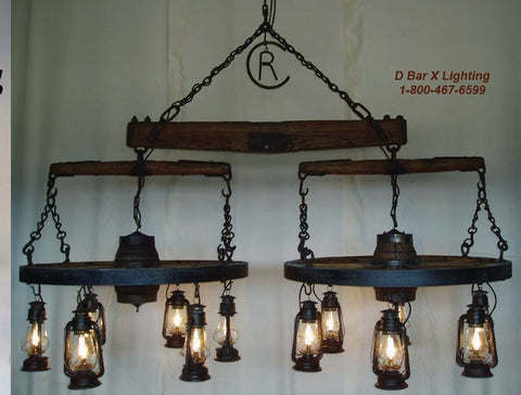 "WW031 - ""The Spur"", Wagon Wheel Chandelier"