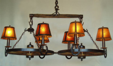 WW032 - 1 Tier, 2 Wheel Chandelier w/ Single Tree/Shades