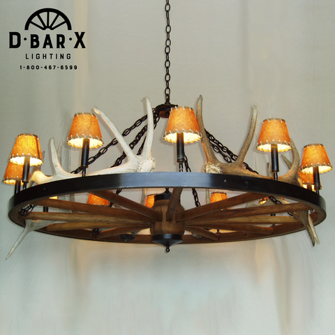 WW033 - Wagon Wheel Chandelier with Antlers & Uplights