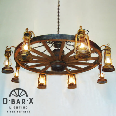 WW036: Wagon Wheel Chandelier with Lanterns Hanging from Hooks
