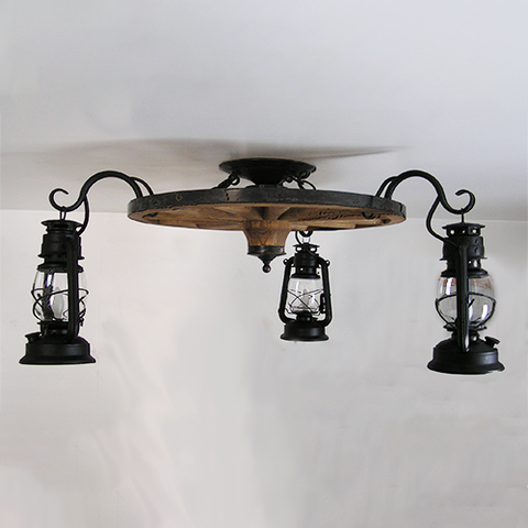 WW036-FM: Flush Mount Wagon Wheel Chandelier with Lanterns Hanging from Hooks