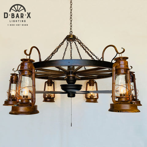 WW037 - Wagon Wheel Chandelier with Ceiling Fan