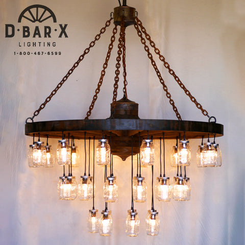 WW755: Wagon Wheel Chandelier with Mason Jar Lights