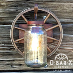 WW770: Rustic Wagon Wheel Mason Jar Wall Sconce