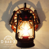 WW802: Rustic Wagon Wheel Replica Pistol Lantern Wall Sconce