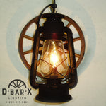 WW809: Rustic Wagon Wheel Lantern Wall Sconce