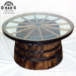 WW840 - Whiskey Barrel & Wagon Wheel Coffee Table with Glass Top