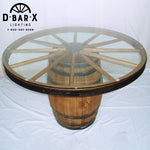 WW842 - Whiskey Barrel Dining Table with Wagon Wheel Glass Top