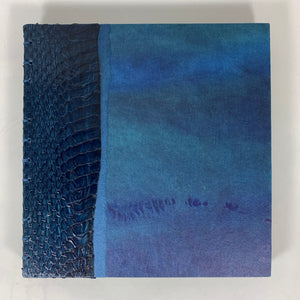 "Journal/Sketchbook (Navy Snakeskin/ Blue Heavy-dyed Japanese paper) 6.5"" x 6.25"""