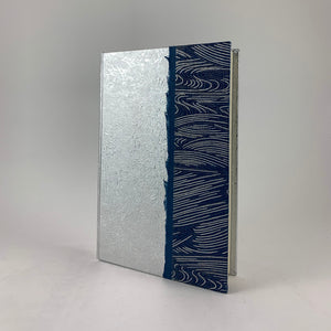 "Journal/Sketchbook (Silver Momi/ Indigo-Silver Wave Chiyogami) 6.75"" x 4.25"""
