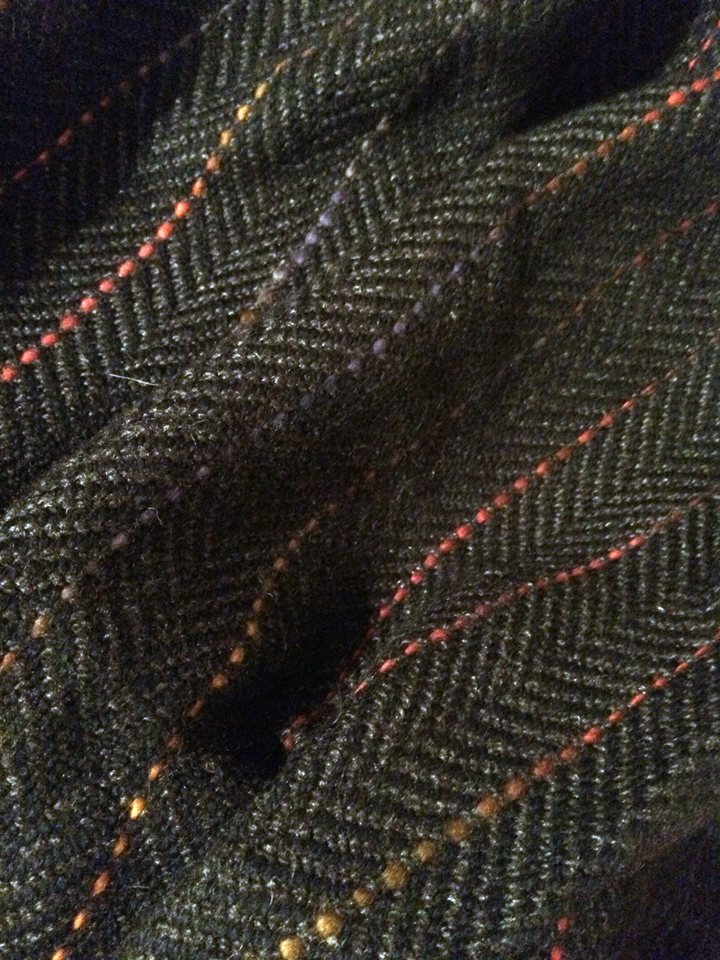 Lap Blanket (Charcoal Gray/Black, with multicoloured pin-stripes)