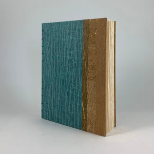 "Journal/Sketchbook (Seafoam Bark-textured paper/Cork paper) 6.5"" x 5"""