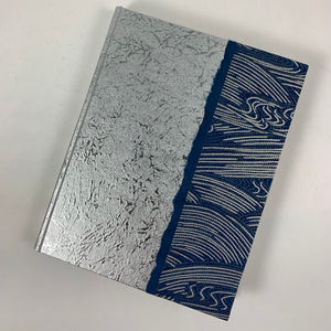 "Journal/Sketchbook (Silver Momi/Indigo-Silver Wave Chiyogami) 6.75"" x 4.5"""